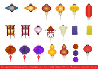 Vector set of chinese lanterns.chinese lantern collection set,vector illustration
