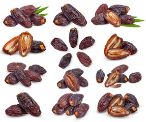 Dried date palm isolated on white clipping path