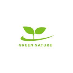 green nature icon logo design template