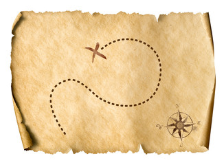 treasure map isolated simple 3d illustration