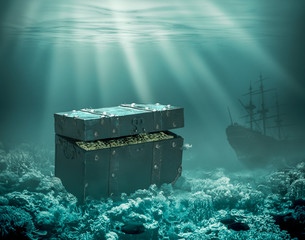 Treasures on the seabed. Sunken chest with gold and merchant ship under water 3d illustration