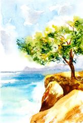 Greece seascape. Watercolor illustration