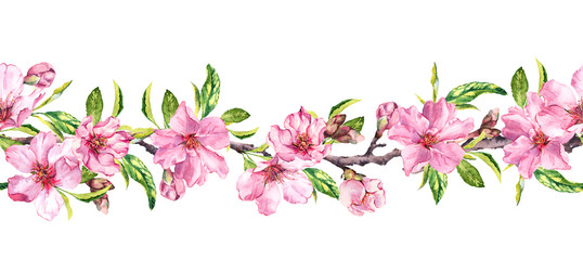Apple, cherry pink flowers. Seamless floral stripe frame. Botanical watercolour painted border