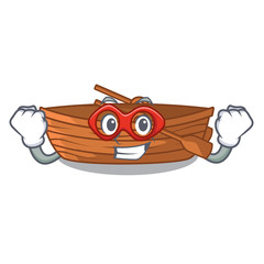 Super hero wooden boats isolated with the cartoons