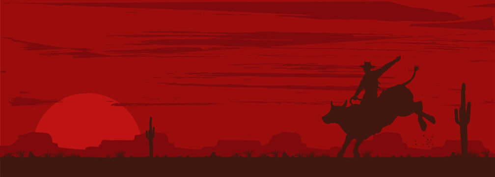 Silhouette of a cowboy riding bull at sunset, vector