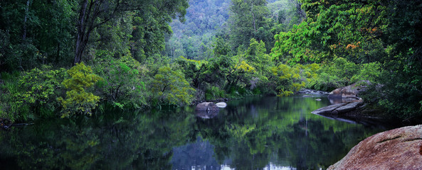 Magnificent river  runs  along  a beautiful tropical rainforest. The South Johnstone River in the Misty Mountains. Wooroonooran National Park, Far North Queensland, Australia. - Image.