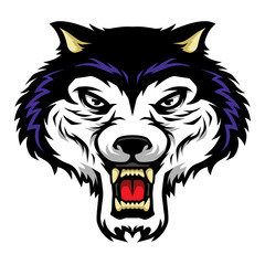 Roaring Wolf Head Mascot Illustration in Cartoon Style