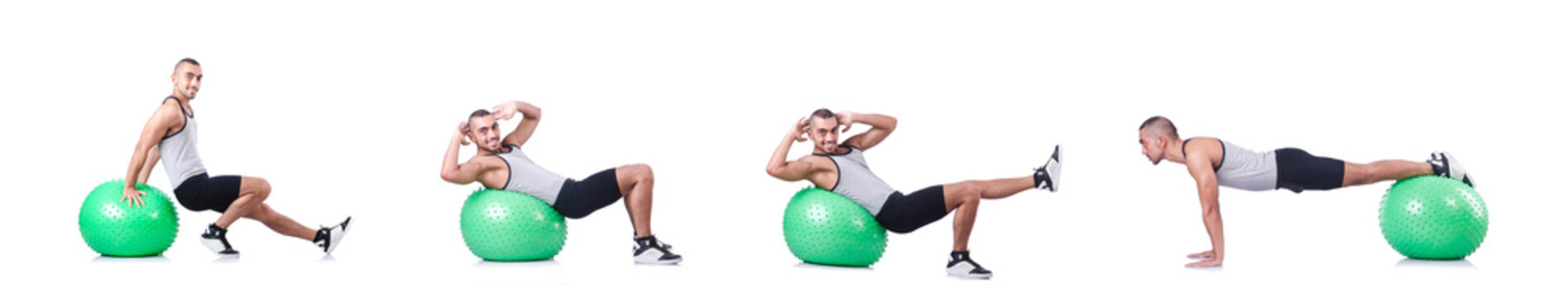 Man with swiss ball doing exercises on white