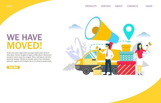 We have moved vector website landing page design template