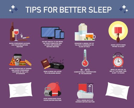 Tips for better sleep, vector flat style design illustration