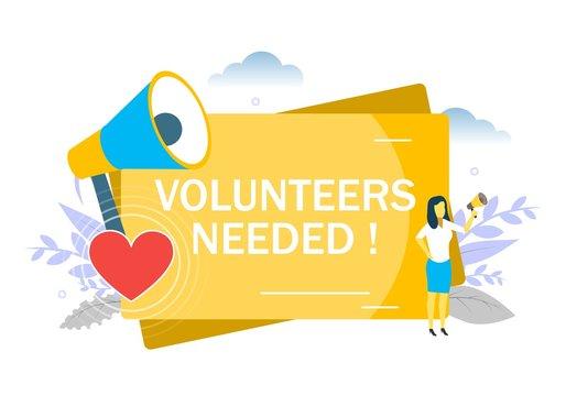 Volunteers needed, vector flat style design illustration