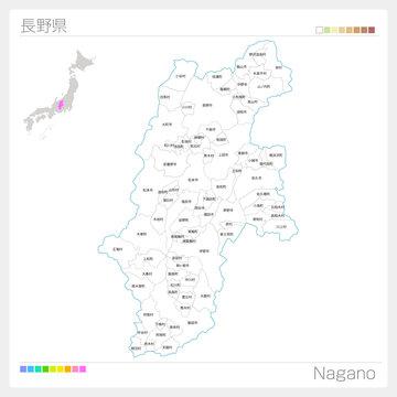 長野県の地図(市町村・区分け)