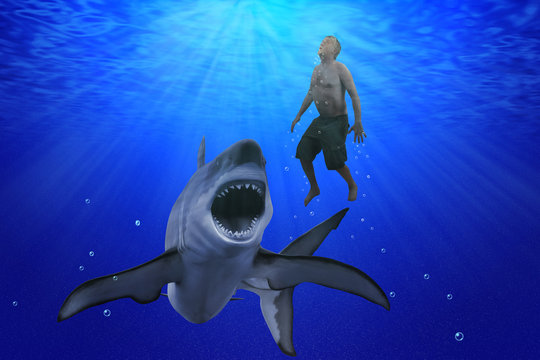 A man is swimming deep underwater in the ocean as a giant great white shark with open mouth with razor sharp teeth is preparing to attack him.