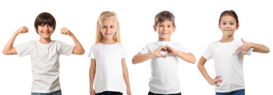 Cute children in clean t-shirts on white background