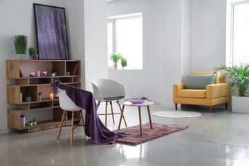 Stylish modern interior of studio apartment