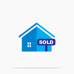 Residential house design, sold house, apartment vector illustration icon