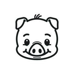 Pig line icon. Logo Piglet face. Piggy head vector illustration
