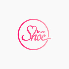 Vector modern love shoe logo for women  men and kids.Shoe icons brand mark collection isolated.