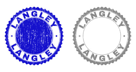 Grunge LANGLEY stamp seals isolated on a white background. Rosette seals with distress texture in blue and gray colors. Vector rubber stamp imprint of LANGLEY label inside round rosette.