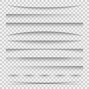 Lines shadow. Paper divider tabs web lines break frame realistic transparent shadows template side bar edge box set