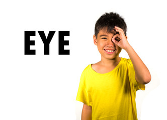 English language learning card with portrait of 8 years old child pointing his eye isolated on white background as part of school cards set of body and face parts