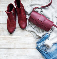 Womens clothing, bag , boots