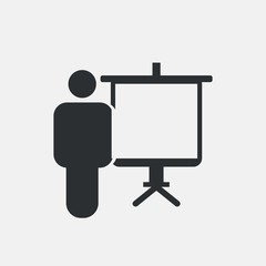 Presentation vector icon man with white board for business and entrepreneur meetings