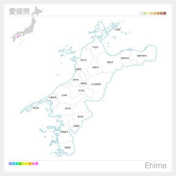 愛媛県の地図(市町村・区分け)