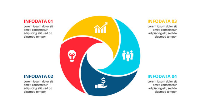 Circle element for infographic with 4 options, parts or steps. Template for cycle diagram, graph and round chart