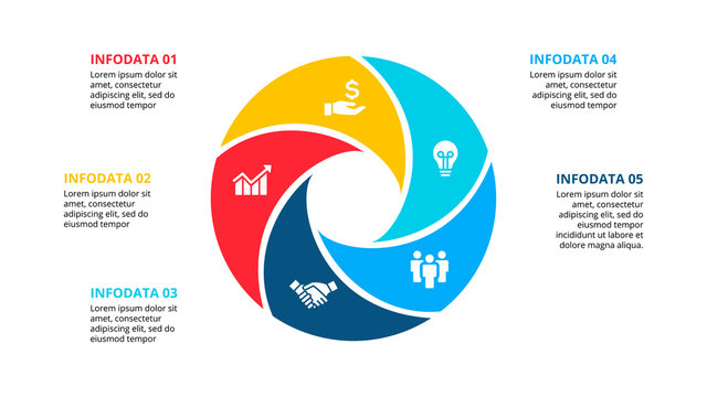 Circle element for infographic with 5 options, parts or steps. Template for cycle diagram, graph and round chart
