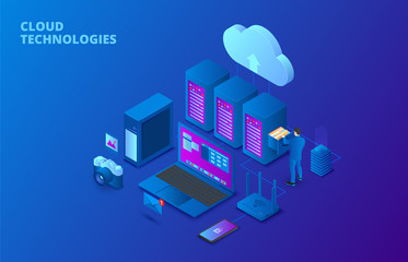 Dark isometric cloud storage technology concept with servers, laptop and man. Landing page template