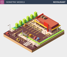 Vector Isometric Restaurant or Pizzerie Building with Sale Sign Board.
