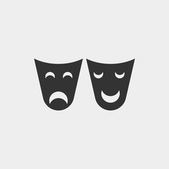 Masks icon sad and smiley face for Halloween and scary vector icon