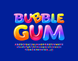 Vector colorful logotype Bubble Gum with Glossy Font. Sweet Alphabet Letters, Numbers and Symbols.