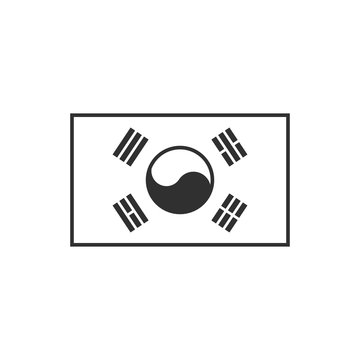 South Korea flag icon in black outline flat design. Independence day or National day holiday concept.