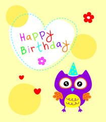 cute owl happy birthday greeting card