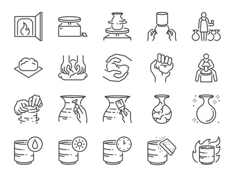 Pottery line icon set. Included icons as clay, terra-cotta, ceramics, porcelain , sculpture and more.