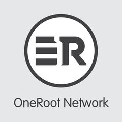 RNT - Oneroot Network. The Logo of Coin or Market Emblem.