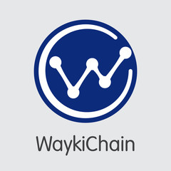 WICC - Waykichain. The Trade Logo of Coin or Market Emblem.