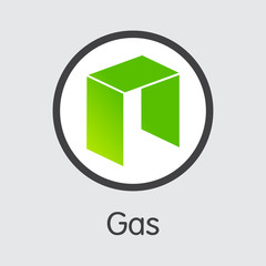 GAS - Gas. The Icon of Virtual Currency or Market Emblem.