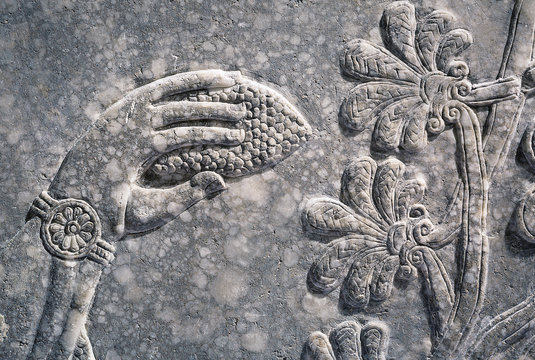 Assyrian wall relief of a genius, detail with a cone in a hand