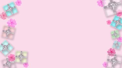 透明感のあるギフトボックスと花の背景 (誕生日、バレンタインデー、母の日 、クリスマス)