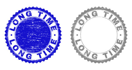 Obraz Grunge LONG TIME stamp seals isolated on a white background. Rosette seals with distress texture in blue and gray colors. Vector rubber stamp imprint of LONG TIME label inside round rosette. - fototapety do salonu