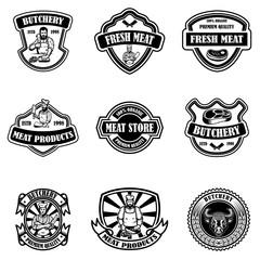Set of vintage meat store labels. Design element for logo, emblem, sign, poster.