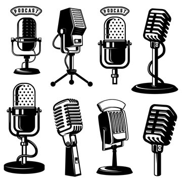 Set of retro style microphone icons isolated on white background. Design element for logo, label, emblem, sign, poster.