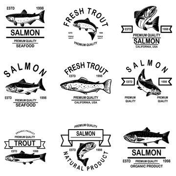 Set of salmon seafood labels. Design element for logo, label, sign, emblem.