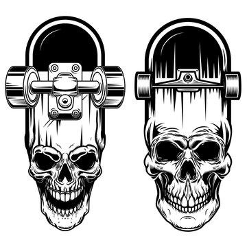 Illustration of skateboard with skull. Design element for logo, label, sign, poster, t shirt.