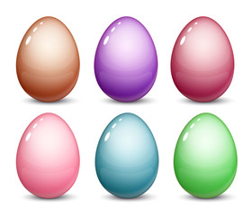 Easter eggs are a set of 6 different colors with highlights and reflections. Layout for the application pattern. Vectonic illustration.