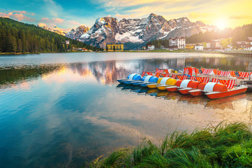 Wall Mural - Misurina alpine lake at sunset in Dolomites mountains, Italy, Europe