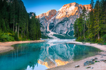 Wall Mural - Spectacular misty lake with snowy mountains in Dolomites, Italy, Europe